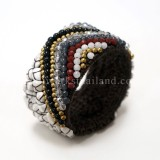 Triangular Pattern Bangle (Dark Howlite)