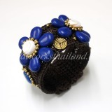 Howlite Flower Bangle (Blue)