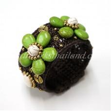 Howlite Flower Bangle (Green)