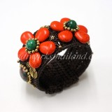 Howlite Flower Bangle (Orange)