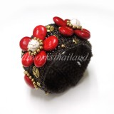 Howlite Flower Bangle (Red)