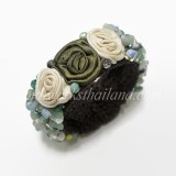 Silk Flower Bangle (Green 01)