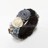 Silk Flower Bangle (Gray 01)