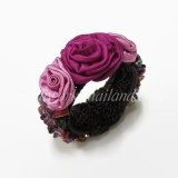 Silk Flower Bangle (Pink)