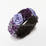Silk Flower Bangle (Purple)