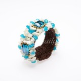 Shell Bangle Decorated With Crystal (Sky Blue)
