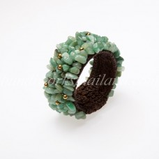 Jade stone Bangle with Brass Beads