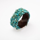 Turquoise stone Bangle with Brass Beads