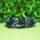 3 Line Onyx With Lapis Lazuli Spring Bangle