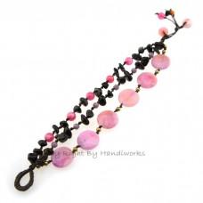 Round Flat  Stone Cotton Wax Bracelet (Pink 01)