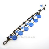 Round Flat  Stone Cotton Wax Bracelet (Blue 01)