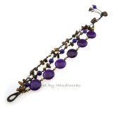 Round Flat  Stone Cotton Wax Bracelet (Purple 02)