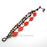 Oval Stone Cotton Wax Bracelet (RED)