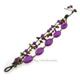 Oval Stone Cotton Wax Bracelet (Purple)