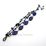 Oval Stone Cotton Wax Bracelet (Blue)