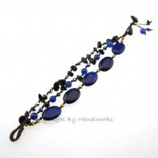 Oval Stone Cotton Wax Bracelet (Blue)