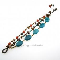 Oval Stone Cotton Wax Bracelet (Sky Blue)