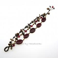 Oval Stone Cotton Wax Bracelet (Maroon)