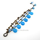 Teardrop Stone Cotton Wax Bracelet (Sky Blue 01)