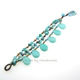 Teardrop Stone Cotton Wax Bracelet (Sky Blue 02)