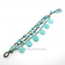 Teardrop Stone Cotton Wax Bracelet (Sky Blue 02)
