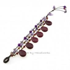 Teardrop Stone Cotton Wax Bracelet (Maroon 01)