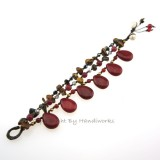 Teardrop Stone Cotton Wax Bracelet (Maroon 02)