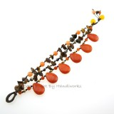 Teardrop Stone Cotton Wax Bracelet (Orange)