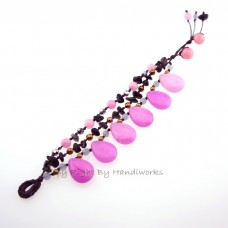 Teardrop Stone Cotton Wax Bracelet (Pink 01)