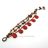 Teardrop Stone Cotton Wax Bracelet (Red Howlite01)