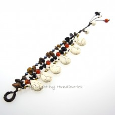 Teardrop Stone Cotton Wax Bracelet (Howlite)