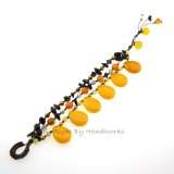 Teardrop Stone Cotton Wax Bracelet (Yellow)