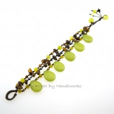 Teardrop Stone Cotton Wax Bracelet (Lemon Green)