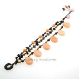 Teardrop Stone Cotton Wax Bracelet (Peach)