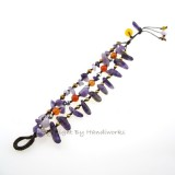 Rice Bead Stone Cotton Wax Bracelet (Amethyst)