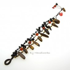 Rice Bead Stone Cotton Wax Bracelet (Tiger Eye)