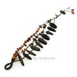 Rice Bead Stone Cotton Wax Bracelet (Onyx)