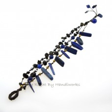 Rice Bead Stone Cotton Wax Bracelet (Lapis Lazuli)