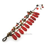 Teardrop Stone Cotton Wax Bracelet (Red Howlite02)