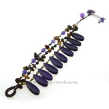 Teardrop Stone Cotton Wax Bracelet (Purple Howlite)