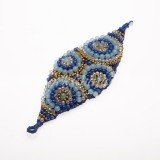 Waxed Cord Bracelet Shaped  Leaf Circle (Blue)