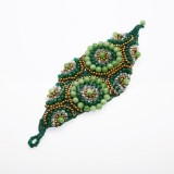 Waxed Cord Bracelet Shaped  Leaf Circle (Green)