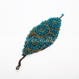 Waxed Cord Bracelet Shaped  Leaf Circle (Dark Sky Blue)