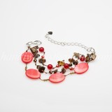 Oval Shaped Shell Bracelet (Red)