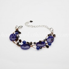 Face Cut Oval Stone Bracelet (Blue)