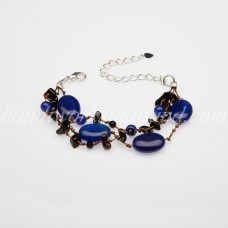 Oval Shaped Stone Bracelet (Blue)