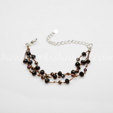 Round Cut Crystal Bead Bracelet (Black)