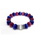 Blue and Dark Pink Cat Eye Glass Bead Bracelet