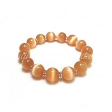 Orange Cat Eye Glass Bead Bracelet