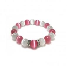 White and Pink Cat Eye Glass Bead Bracelet